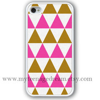 iPhone 4 Case, iphone 4s case, Triangles pattern iphone case, Geometric graphic white iphone hard case, pink and brown