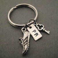 I Hold The Key to My Running PR Key Chain / Bag Tag - Handmade Nickel Silver PR Charm, Pewter Shoe and Key on Ball Chain or Key Ring