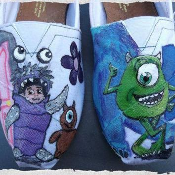 CREYUG7 Custom Painted Shoes Monsters Inc Boo Mike Sulley TOMS Vans Converse