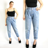 Vintage 80's 90's Blue Washed  Mom Tapered Jeans High Waisted  - Small to Medium