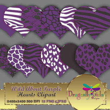 """80% OFF Sale WILD About Purple Hearts 8"""" clip art  digital paper, commercial use, scrapbook papers, background, Zebra Leopard Animal Print"""