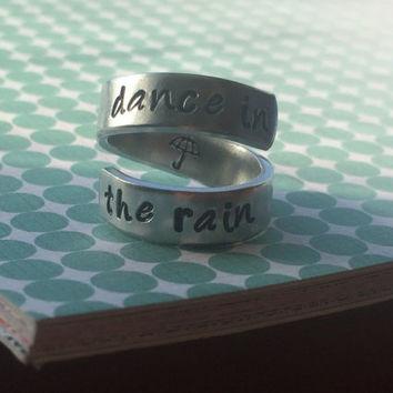 dance in the rain aluminum spiral ring 1/4 inch wide
