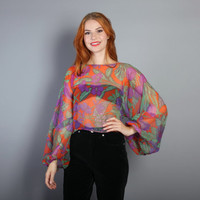 70s SHEER Balloon Sleeve TOP / Boho FLORALl Cropped Layering Blouse