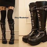 """3"""" heels lace up engineer biker motorbike punk rock emo boots cosplay gothic NEW"""