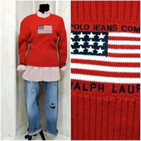 Vintage Polo Ralph Lauren sweater / size M / L / womens red sweater / pullover cardigan / 90s Ralph Lauren / US flag sweater