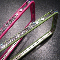 100% SWAROVSKI Elements Clear Crystal Bling HOT PINK Bumper Case Cover Apple iPhone 5