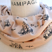 Beige Infinity Scarf FREE SHIPPING Black Sailing Ship Beige Color Circle Loop Soft Lightweight Scarf- By PIYOYO