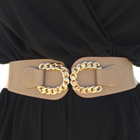 Linked Up Stretch Belt In Taupe