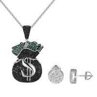 Money Bag $ Pendant Black Green Simulated Diamond Cluster Set Earrings Necklace