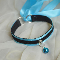 Premade Kitten play day collar - Blue jay - two toned ddlg cgl princess fairy kei kawaii neko lolita pet petplay pastel choker neko costume