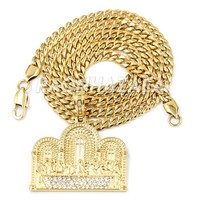 Hip Hop Iced Stainless Steel Gold/Silver Last Supper Pendant W Cuban Chain