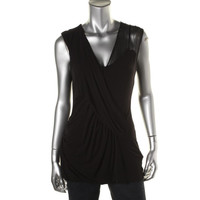 Bailey 44 Womens Gathered Faux Wrap Tank Top
