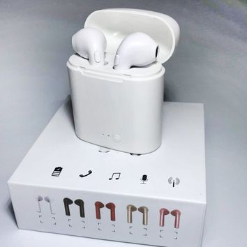 Hot Sale Bluetooth Headphones Wireless Earbuds Stereo Earphone Cordless Sport Headsets for Iphone AirPods iphone 8, 8 plus, X, 7, 7 plus, 6s, 6S Plus With Charging Case White