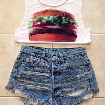Levis Shredded shorts High waisted denim shorts hipster grunge tumblr new year christmas gift by Jeansonly