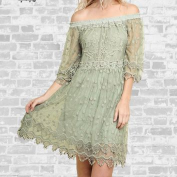 Off Shoulder Lace Dress - Sage - Small only