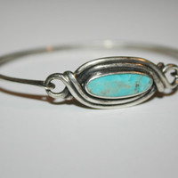 Beautiful Vintage Turquoise Sterling Silver Bracelet 6 in -US free shipping