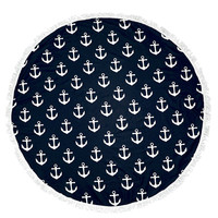 Multiple Anchor Nautical Round Beach Towel Roundie Blanket