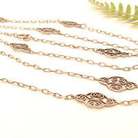 Antique French Silver Long Chain,  Elegant Fancy Filigree Necklace, Opera Length, Hallamarked, Very Good Condition