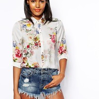 River Island   River Island Soft Floral Blouse at ASOS