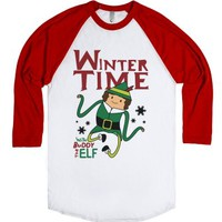 Winter Time with Buddy the Elf-Unisex White/Red T-Shirt