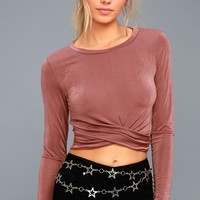 Always Celebrated Mauve Long Sleeve Crop Top