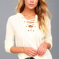 Harvest Cream Hooded Lace-Up Thermal Top