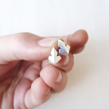 Tribal Ethnic Sterling Silver Stud Earrings - Original Faceted Small Tribal Indian Post Earrings Studs - Contemporary Jewelry in Silver