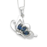 Multi Blue Sapphire Stones Butterfly Sterling Silver Pendant and Necklace, Birthdays, Wedding present, Special Occasions