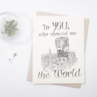 Happy Father's Day FAST SHIPPING: To You, Who Showed Me the World, Raccoons in origami hot air balloon, steampunk, handmade card