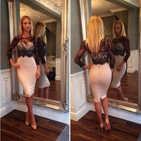 Womens Dress Fashion Womens Sexy Lace and Sheer Cocktail Dress Hot Lady Wrap and Long Sleeve Slim Evening Skirt