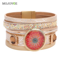 Women Bracelets Trendy Casual  Leather Cuff Wide Rope Bangles Fashion Jewelry SN9