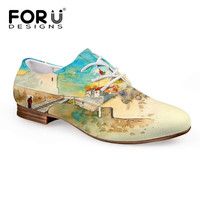 FORUDESIGNS 2017 Spring Women's Oxfords Shoes 3D Painting Lace-up Oxford Shoe for Women Student Casual Shoes Flats Zapatos Mujer