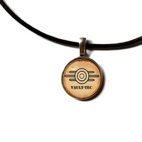 Vault tec necklace Fallout pendant Post nuclear jewelry Antique style n221