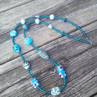 Long Blue Necklace, Blue Glass Necklace, Long Gypsy necklace, Floral Flower Jewelry, Hippie Necklace, Blown Glass Beads, Gifts for Teens