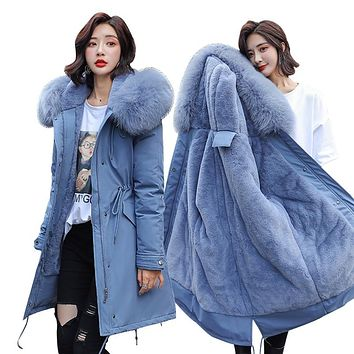 High Quality Hooded Fur Collar Thick Coat