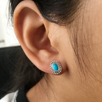 Turquoise Stud Earrings, Turquoise Jewelry, Turquoise Post Earrings, Oval Turquoise Earrings, Boho Stud earrings, cartilage, helix, tragus