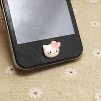 Cute Crystal Pink Bowknot Kitty Cat DIY Home Button by Polaris798