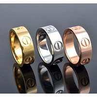Perfect Cartier Woman Fashion LOVE Plated Ring Necklace Jewelry