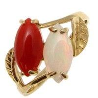 GENUINE NATURAL MARQUISE RED CORAL AUSTRALIAN OPAL RING SOLID 14K YELLOW GOLD
