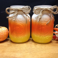 Candy Corn Mason Jars--set of 2, Fall Decor, Autumn Decor, Halloween decorations, Fall wedding decorations , fall decorations