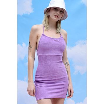 Life Of Leisure Terry Cloth Halter Dress - Grape