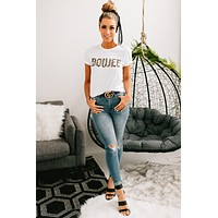 """""""Boujee"""" Leopard Print Graphic Tee (White)"""