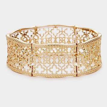 Filigree Quatrefoil Metal Stretch Bracelet