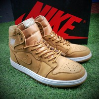 Best Online Sale Air Jordan 1 Pinnacle AJ Wheat Suede Basketball Shoes