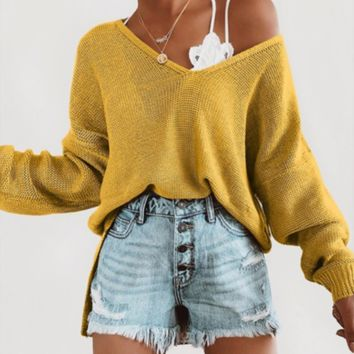Autumn and winter new women's wish explosion ladies v-neck loose sweater