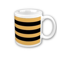 Beeswax Color And Horizontal Black Stripes Pattern Mugs from Zazzle.com
