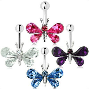 Charming Butterfly Belly Button Ring 4 Colors