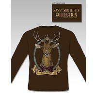 SALE Sassy Frass Collection Preppy Stag Deer Buck Bow Long Sleeve Girlie T Shirt