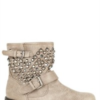 Flat Engineer Boot with Pyramid Studs and Buckled Straps
