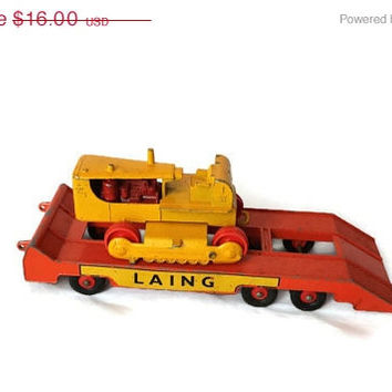 On Sale Vintage Yellow Matchbox  D9 Caterpillar Tractor and Laing Trailer King Size series No 8, made by Lesney, England